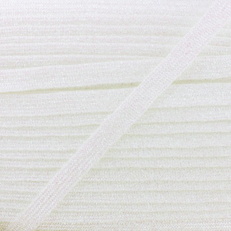 8 mm Lurex Braided Ribbon - White Réflexion x 1m