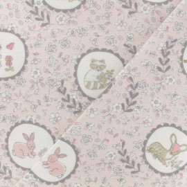 Flannel Fabric - pink animal forest portraits x 10cm