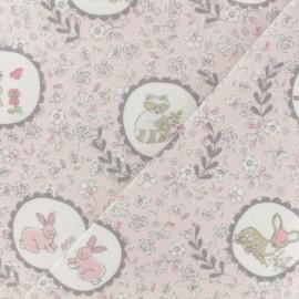 Tissu Flanelle  Animaux de la forêt - rose pâle x 10cm