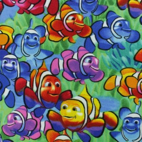 Tissu Flanelle Poisson clown - multicolore x 10cm