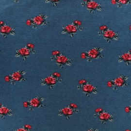 Jersey fabric - Blue Botanic roses x 10cm