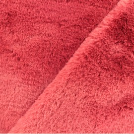 Tissu fourrure Malmo - rouge x 10cm