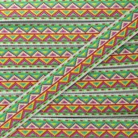 15 mm Jacquard Ribbon - Green Tenochtitlan x 1m