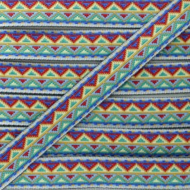 15 mm Jacquard Ribbon - Blue Tenochtitlan x 1m