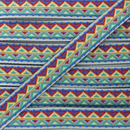 Ruban Jacquard Tenochtitlan 15 mm - Bleu x 1m