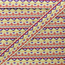 Ruban Jacquard Tenochtitlan 15 mm - Rouge x 1m