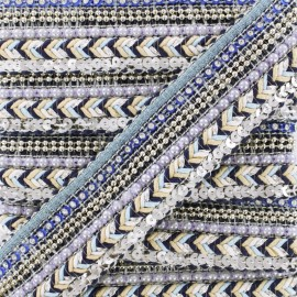 35 mm Pearl Braided Trim - Blue Elisabeth x 50cm