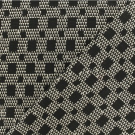 Stretch Lurex Jacquard fabric - Black/white Gustave x 10cm