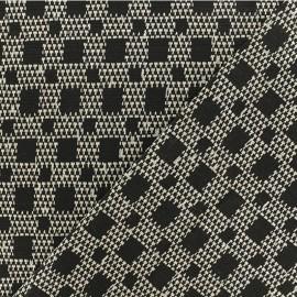 Tissu Jacquard lurex extensible Isaac - Noir x 10cm