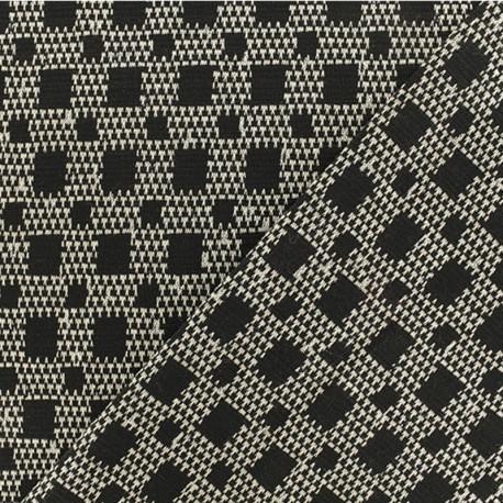 Tissu Jacquard lurex extensible Isaac - Noir/blanc x 10cm