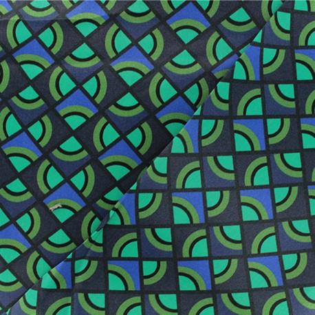 Polyester satin fabric - blue Geometric x 10cm