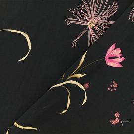 ♥ Coupon 70 cm X 140 cm ♥ Tissu crêpe Anastasie - Noir