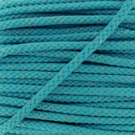 8 mm Lurex Braided Cord - Turquoise x 1m