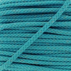 Cordon Tressé Lurex 8 mm - Turquoise  x 1m