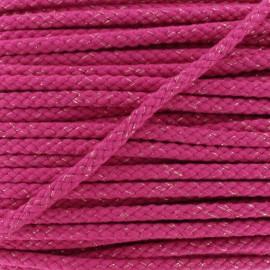 Cordon Tressé Lurex 8 mm - Fuchsia  x 1m