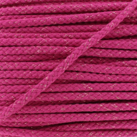 8 mm Lurex Braided Cord - Fuchsia x 1m