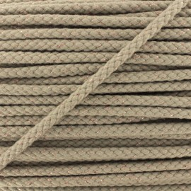 8 mm Lurex Braided Cord - Taupe x 1m
