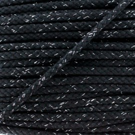 8 mm Lurex Braided Cord - Black x 1m