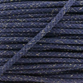 8 mm Lurex Braided Cord - Navy x 1m
