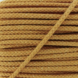 8 mm Lurex Braided Cord - Camel x 1m