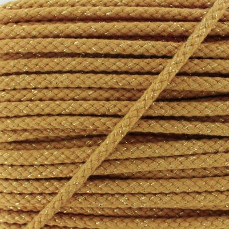 8 mm Lurex Braided Cord - Camel x 1m