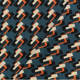 Tissu crêpe Brunilde - bleu x 50cm