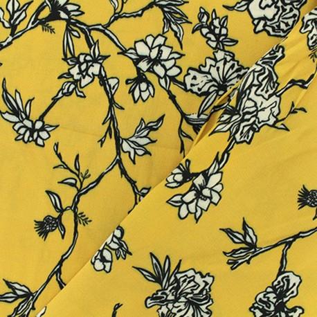 Tissu crêpe Bernice - jaune x 50cm