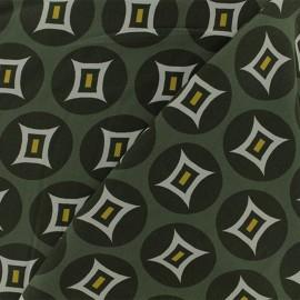 ♥ Coupon 150 cm X 140 cm ♥  Tissu Viscose graphique Tangalle - vert