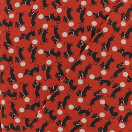 Viscose Fabric - Red Samuel the dachshund x 10cm