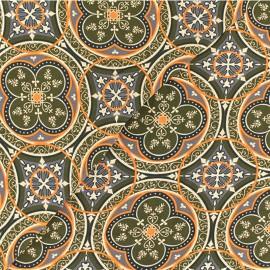 Tissu Viscose graphique Faro - vert x 10cm