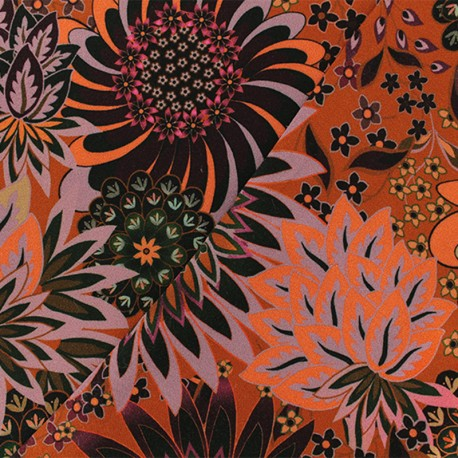 crepe viscose fabric - Orange Kandy x 10cm