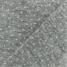Tissu jersey maille légère étoile - gris chiné x 10cm