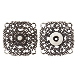 Openwork Metal Snap Button - Ancient Silver