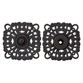 Openwork Metal Snap Button - Black