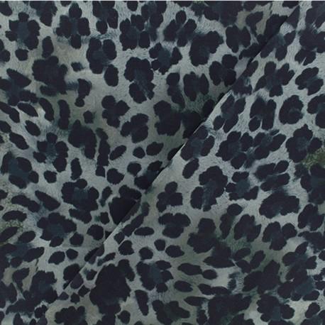 Microfiber fabric - Grey leopard x 10cm