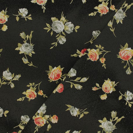 Satiny Gabardine Fabric  - Black Constance x 10cm