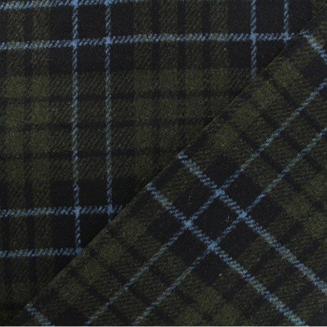 Tissu drap de laine réversible Galway - vert kaki x 10cm