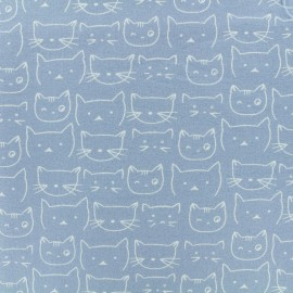 Flannel Fabric - Sky Blue Chaton x 10 cm