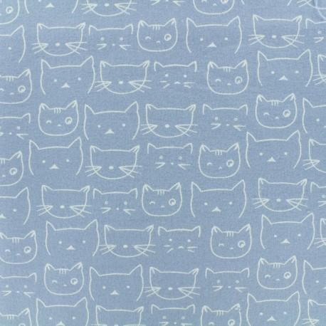 Flannel Fabric - Sky Blue Chaton x 10 cm