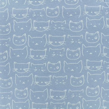 Tissu Flanelle Chaton - Bleu Ciel x 10cm