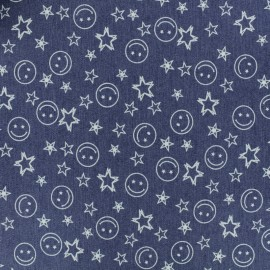 Denim fabric - blue Happy x 10cm
