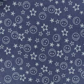 Denim fabric - blue Happy x 10cm