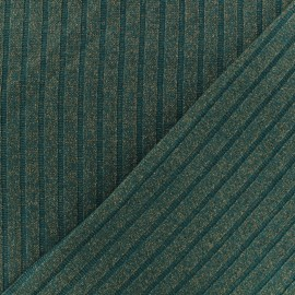 Jersey lurex ribbed knitted fabric - Peacock green x 10cm