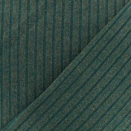 Tissu jersey maille côtelé Lurex -  vert paonx 10cm
