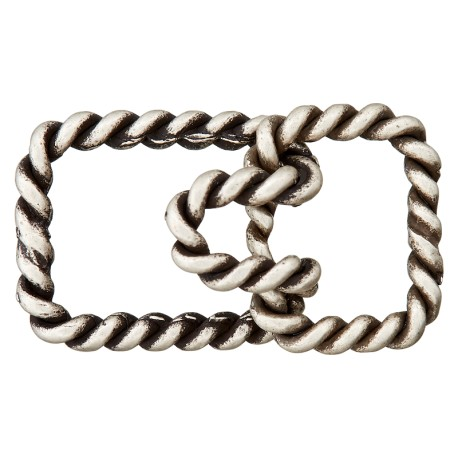 30 mm Metal Hook and Eye Closure - Ancient Silver Twist