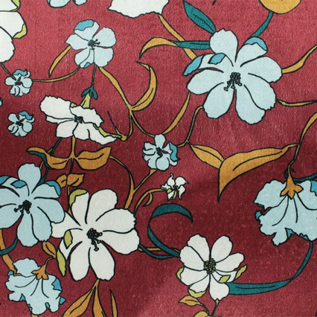 Elastane velvet fabric - red Aphrodite x10cm