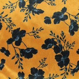 Elastane velvet fabric - yellow Artémis x10cm
