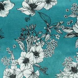 Tissu velours élasthanne Héra - Turquoise x10cm