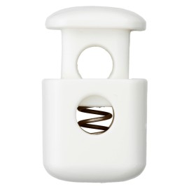 38 mm Polyester Cord Lock Stopper - White Block