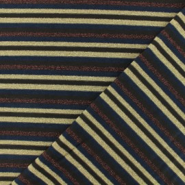 Lurex Striped jersey fabric - brown x 10cm
